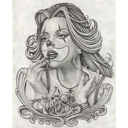 Payasa By Mouse Lopez Mexican Girl Drawing Tattoo Black And White Canvas Art Print
