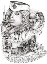 Mouse's Love Hurts By Mouse Lopez Mexican Girl Tattoo Design Canvas Art Print