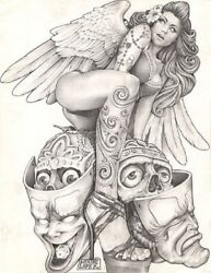 Sexy Angel By Mouse Lopez Mexican Girl Tattoo Black And White Canvas Art Print