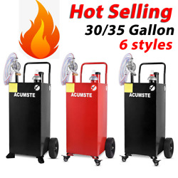 30and35 Gas Caddy Fuel Diesel Transfer Portable Tank W/ Pump Front Wheels Hose