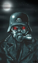 Evil Soldier By Marcus Jones Glowing Red Eyes Gas-mask Black Canvas Art Print