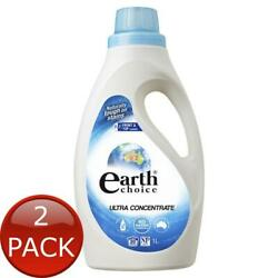 2 X Earth Choice Ultra Concentrate Front Top Loader Laundry Liquid Detergent 1l