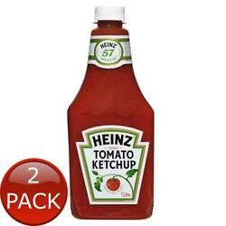 2 X Heinz Tomato Sauce Ketchup 1l Snack Condiment Squeezable Bottle No Preser...