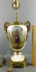 Antique Hand Painted Figural French Porcelain Lamp Bronze Rams Heads Ormolu