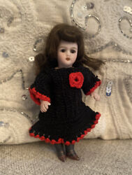"""Antique 4.5"""" All Bisque Black Stocking Doll 890 Simon And Halbig French Market"""