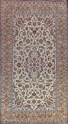 Antique Ivory Najafabad Hand-knotted Area Rug Floral Oriental Large Carpet 10x17