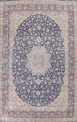Antique Kirman Floral Navy Blue Area Rug Wool Hand-knotted Oriental Carpet 10x14