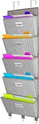 Over The Door File Organizer 5 Large Pockets Office Wall Hanging File Folders