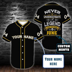 Birthday Gift Baseball Jersey Shirt A Legend Who Was Born In June Custom Name