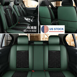 Full Surround 5-seat Covers Car Cushion Black+green Pu Leather Protector Pad Usa