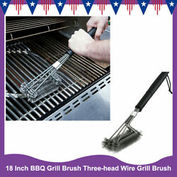 18 Inch Bbq Grill Brush Three-head Wire Grill Brush Grill Cleaning Brush New