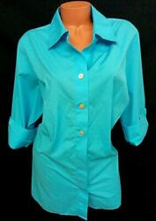 Investments Ii Blue 3/4 Sleeves Wrinkle Free Split Sides Buttoned Down Top 22w
