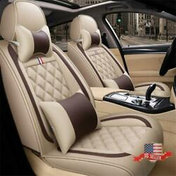 5-sits Car Seat Cover Protector Cushion Full Set Front+rear Beige Pu Leather Usa