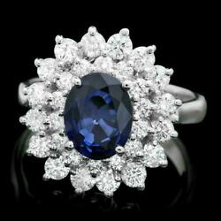Real Solid 14k White Gold 1.8ct Oval Cut Natural Sapphire Diamond Ring