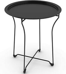 Outdoor Side Table Furniture End Accent Patio Garden Porch Folding Black Tray