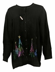 Quacker Factory Womenand039s Sweater Plus Sz 1x Embroidered Cardigan Black A284434