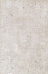 Antique Muted Kirman Distressed Hand-knotted Evenly Low Pile Wool Area Rug 8x11