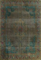Antique Overdyed Tebriz Hand-knotted Geometric Area Rug Oriental 9x13 Ft Carpet