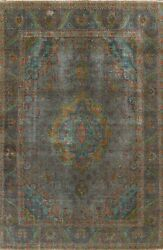 Antique Overdyed Floral Tebriz Handmade Area Rug Evenly Low Pile Oriental 8and039x11and039