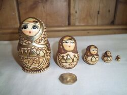 Russian Dolls Set Of 5 Wooden Dolls Small Size Largest 10 Cm Tall