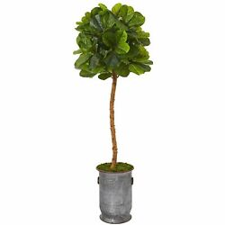 5.5andrsquo Fiddle Leaf Artificial Tree In Copper Trimmed Metal Planter Real Touch