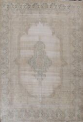 Memorial Sale Antique Muted Distressed Kirman Floral Handmade Area Rug 10x13 Ft