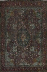 Memorial Deal Antique Overdyed Tebriz Floral Oriental Area Rug Hand-knotted 9x12