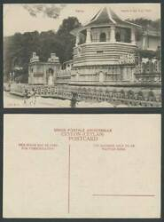 Ceylon Old Postcard Kandy Temple Of The Holy Tooth Street Scene Men Woman Plate
