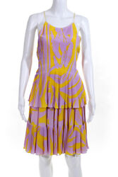 Christian Dior Womens Tiered Pleat Abstract Halter Dress Purple Yellow Size Fr36
