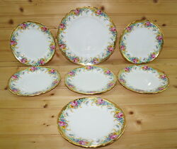 Royal Tuscan Garland Wide Gold 7 Pc Dessert Plate Set, 1-8 1/8 And 6 - 6 1/2