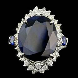 Real Solid 14k White Gold 12ct Oval Cut Natural Sapphire Diamond Ring