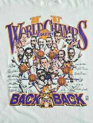 Vintage La Lakers Caricature World Champs 80and039s T Shirt Vintage Men Gift Tee