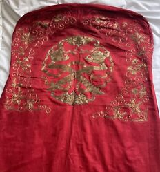 Antique Chinese Embroidered Silk Chair Covers Embroidery Qing Dynasty