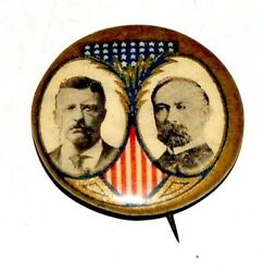 1904 Teddy Roosevelt Charles Fairbanks Theodore Campaign Pinback Button Badge