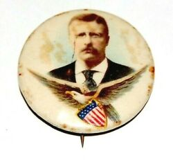1904 Teddy Roosevelt 1.25 Eagle Theodore Campaign Pin Pinback Button Political
