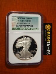 1986 S Proof Silver Eagle Ngc Pf69 Ultra Cameo First Year Of Issue Green Label