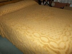 Dark Gold Cotton Chenille Queen Size Bedspread And 2 Pillow Shams Cutter Or Use