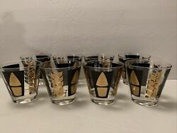 Rare Fred Press Signed Mid-century 8 Black And Gold Leaves Lowball Glasses Vtg