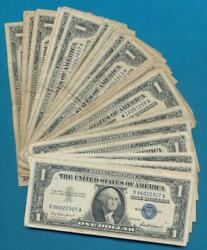 50-1.00 1957 Mixed Series Silver Certificates Average Circulated Dealers Lot