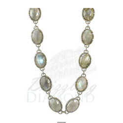 Labradorite Natural Diamond Long Necklace 925 Sterling Silver Jewelry 32 Inches