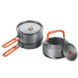 Camping Utensils Dishes Cookware Set Picnic Hiking Heat Exchanger Pot Kettle
