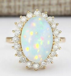 Igi Certified 4.6ct Natural Opal Solid 14k Yellow Gold Luxury Diamond Ring