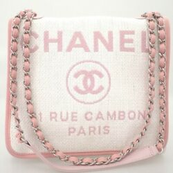 Deauville 2way Chain Shoulder White Pink Silver Fittings Bag Coco Mark