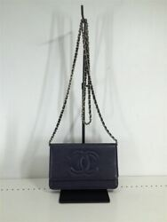 Chain Wallet Shoulder Bag Caviar Skin Coco Mark Leather Nvy 22119266