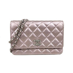Chain Wallet 21293396 Coating Leather Mat Metal Fittings Pink Shoulder