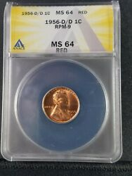 1956 D/d Rpm-9 Lincoln Anacs Ms64 Red Difficult Certified Variety Ea