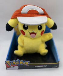 Tomy Pokemon Large Pikachu With Ash's Hat Plush 10 2016 Wearing A Hat