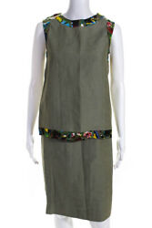 Boutique Womens Sleeveless Boat Neck Blouse Pencil Skirt Set Green Size M