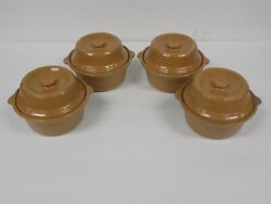 4 Vintage Covered Usa Pottery Stoneware Souffle Dishes Or French Onion Bowls