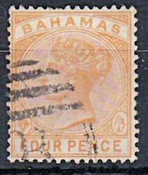 Qv Bahamas 1884 Stamp Wmk Ca 4d Yellow Used